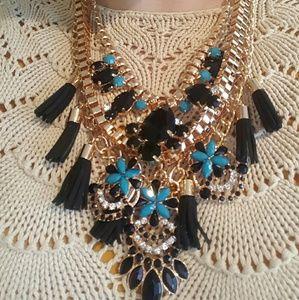 Jewelry - Layered Fashion Statement Gold Tone Necklace